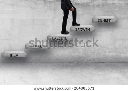 business man walking step by step have word idea plan execute growth benefit idea concept for success and growth business - stock photo