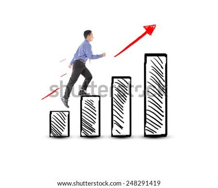 Business man walking success on profit graph - stock photo