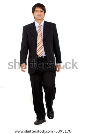 Business man walking towards the camera - isolated over a white background - stock photo