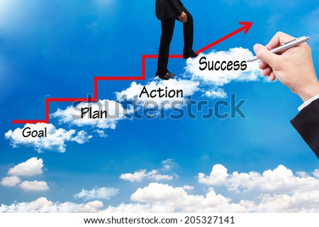 business man walking up stepping cross cloud stairs have red rising arrow on blue sky with hand writing word goal plan action success idea concept for success and growth  - stock photo