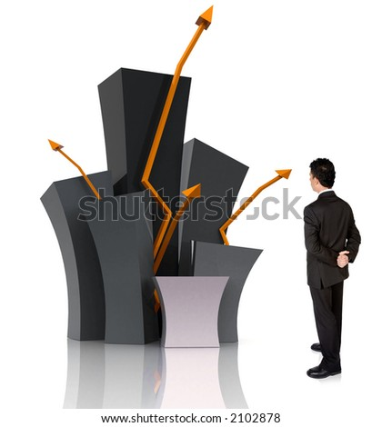 business man watching his empire grow over white - stock photo