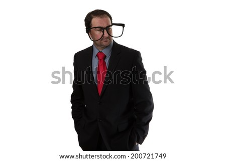 Business man wear funny large glasses