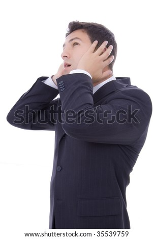 business man whith a toothache over white background