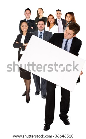 Business man with a banner and a group of people isolated - stock photo