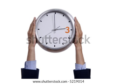 business man with a clock isolated in white background - stock photo