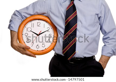 business man with a clock on white background - stock photo