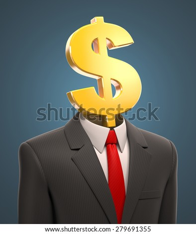 business man with a dollar sign for a head