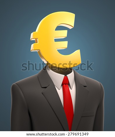 business man with a euro sign for a head - stock photo
