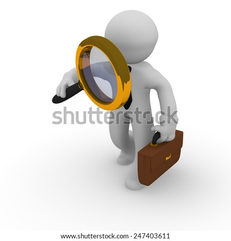 Business man with a golden magnifying glass on a white background