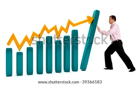 Business man with a graphic showing growth isolated