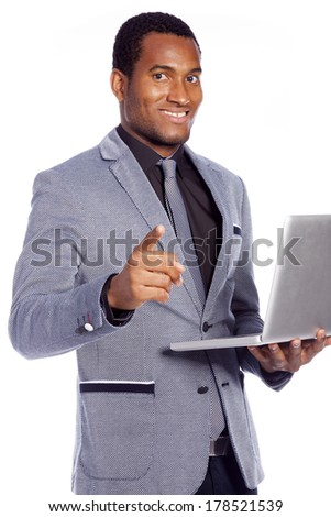 Business man with a laptop, isolated over a white background