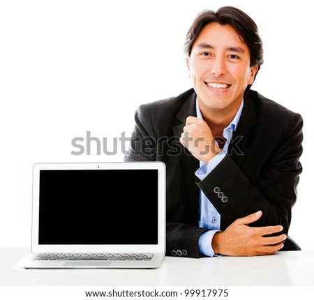 Business man with a laptop - isolated over a white background - stock photo