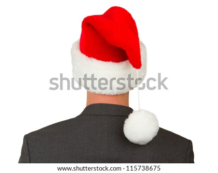 Business man with a santa hat isolated