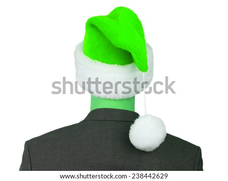 Business man with a santa hat isolated, green - stock photo