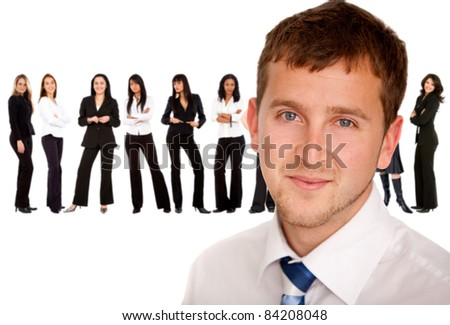 Business man with a successful group of women ? isolated - stock photo