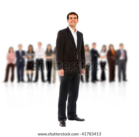 business man with a team isolated over a white background - stock photo