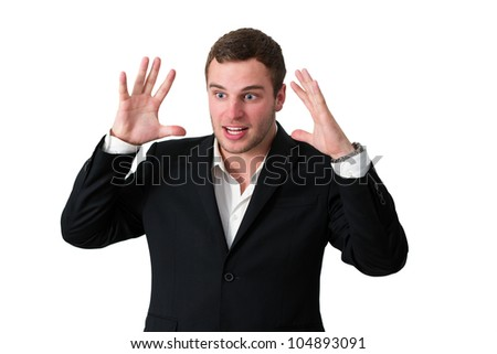 Business man with a very aggressive expression - stock photo