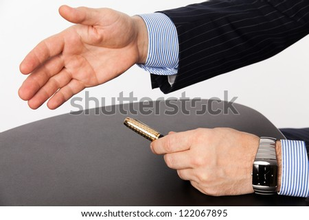 Business man with an hand ready to seal a deal - stock photo