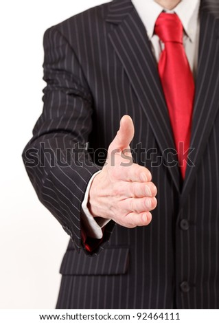 business man with an open hand - stock photo