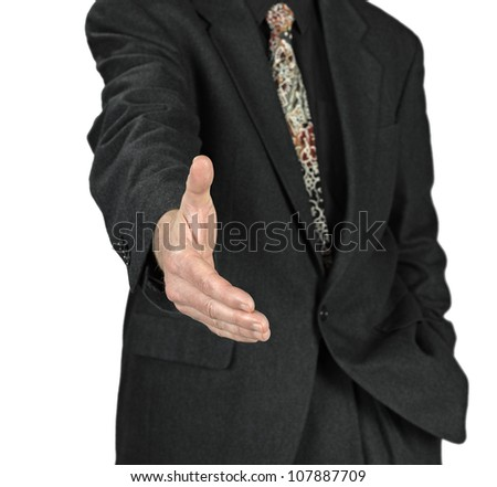 Business man with an open hand ready to seal a deal on white background
