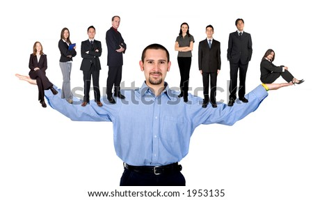 business man with arms open hands facing up with his team - stock photo