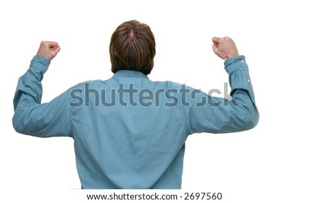 Business man with arms raised, isolated on white - stock photo