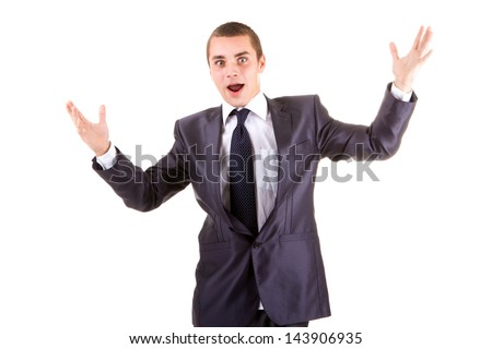 business man with arms wide open isolated on a white