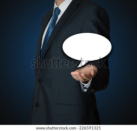 business man with balloon text  - stock photo