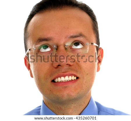 Business man with big smile over white  - stock photo