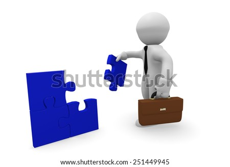 Business man with blue pieces of puzzle - stock photo