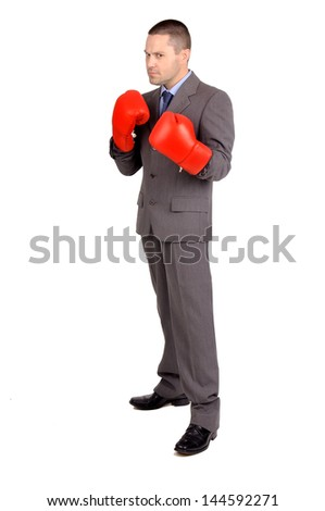 business man with boxing gloves isolated in white - stock photo