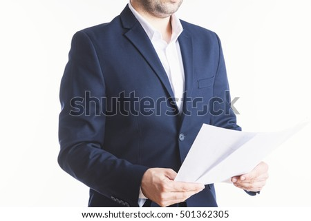 Business man with business reports
