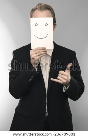 Business man with calling gesture
