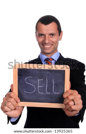 business man with chart over white background - stock photo
