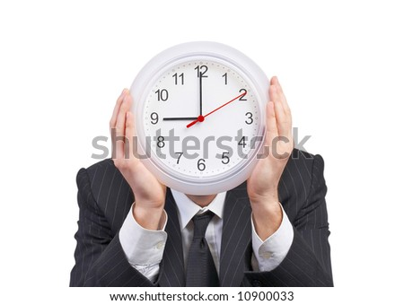 business man with clock against his head