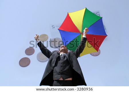 business man with colour umbrella