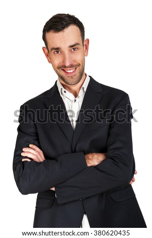 Business man with crossed arms smiling, isolated over white background.