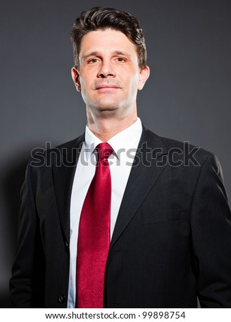 Business Man Dark Grey Suit Red Stock Photo 99898754 - Shutterstock