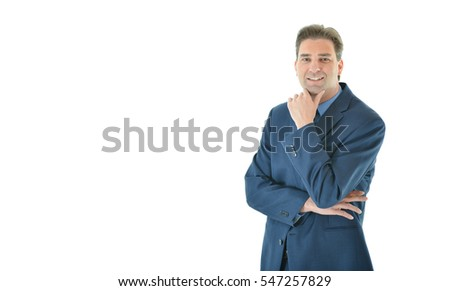 Business man with folded arms looking straight