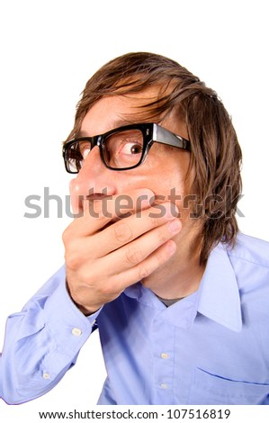 Business man with hand on his mouth - stock photo