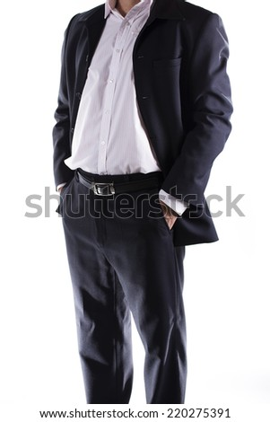 business man with hands in his pockets isolated on white background  - stock photo
