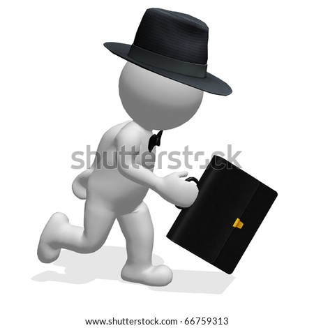 business man with hat and case running