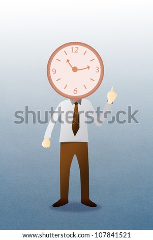 Business man with head clock