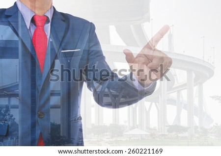 business man with high way bridge background - stock photo