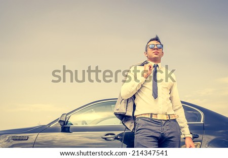 business man with his car - stock photo