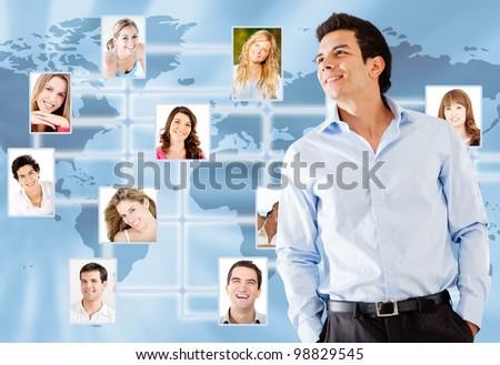 Business man with his entourage around the world - stock photo