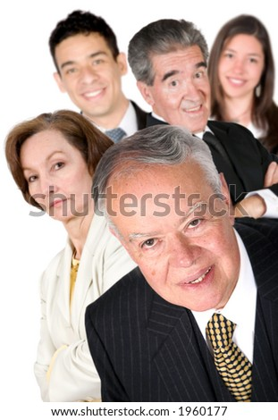 business man with his team behind him over white - stock photo