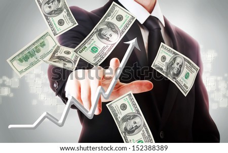 Business man with hundred dollar bills and rising arrow  - stock photo