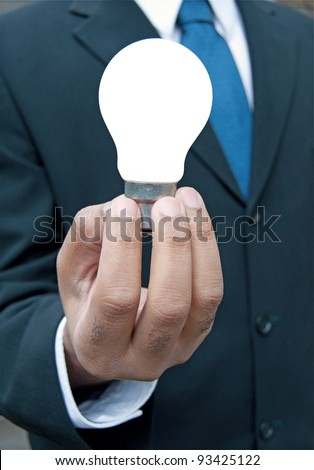 Business man with idea - stock photo