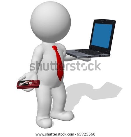 business man with laptop and mobile phone - stock photo